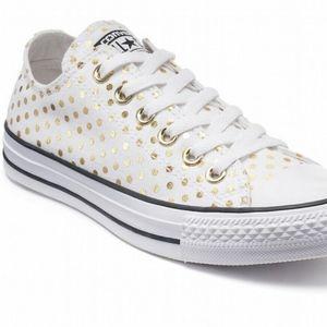 Converse White & Gold Polka Dot Women 12